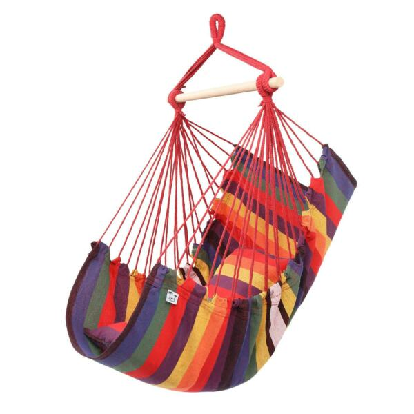Deluxe Hanging Rope Chair Porch Swing Yard Garden Patio Hammock Cotton Outdoor $26.99