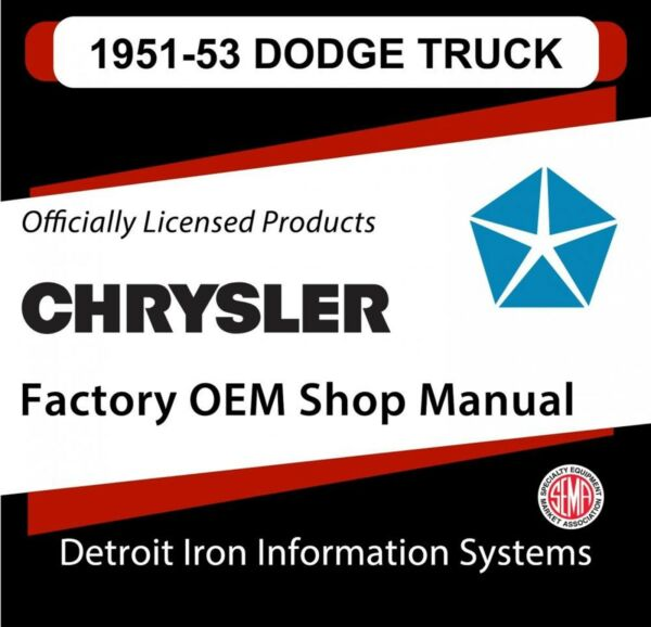 1951-1952 Dodge Light Duty Truck Shop Manual & 1953 Supplement CD