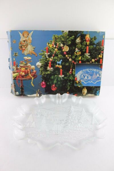 WALTHER-GLAS Platter Tray Canape Glass Christmas Holiday Design Trees Germany