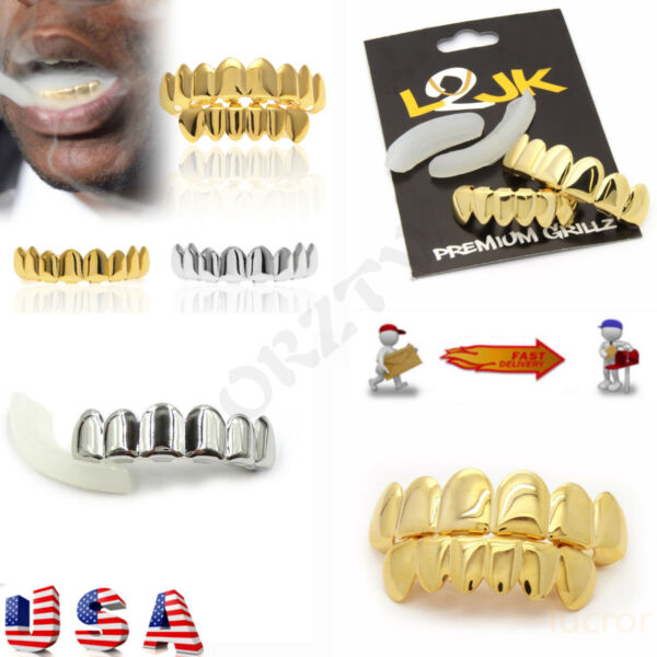 14K Gold Plated Teeth Grills Grillz Hip Hop Man Free Mold American style Rapper