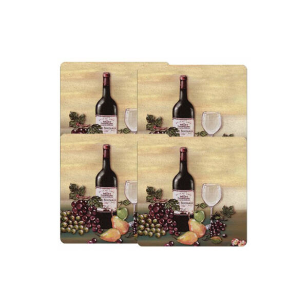 Gas Stove Burner Covers Square Shape Extra Deep Wine and Vines Pattern Set Of 4