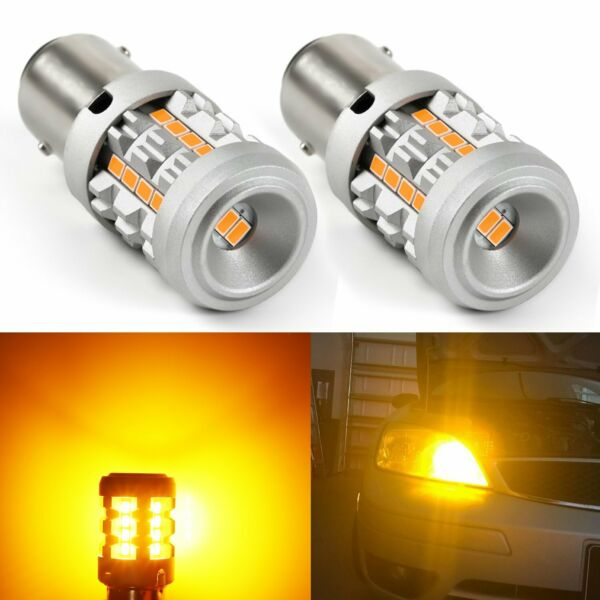 JDM ASTAR 2x 1156 BA15S Yellow Amber 26-SMD Turn Signal Canbus LED Lights Bulbs