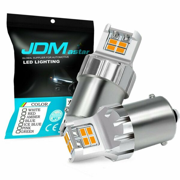 JDM ASTAR 2x Yellow Amber 1156 BA15S 12-SMD Turn Signal Blinker LED Lights Bulbs
