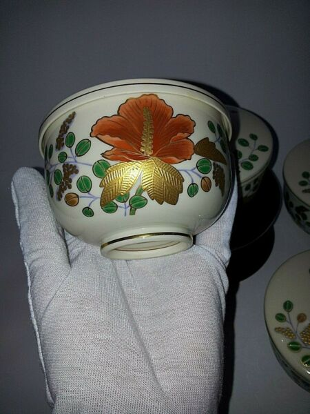 5 Piece Vintage Kozangama Handpainted Gold Trim Covered Bowl Set Wooden Box