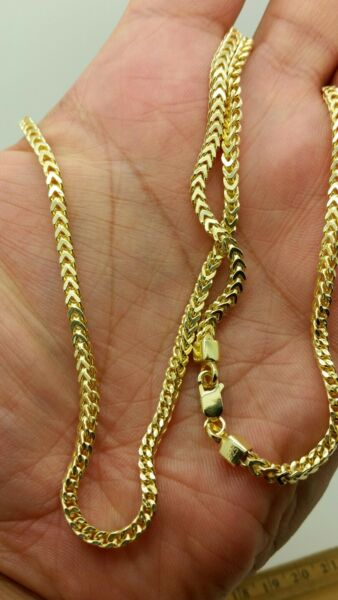 925 Sterling Silver 14k Gold Hollow Square Box Franco Link Chain 3mm