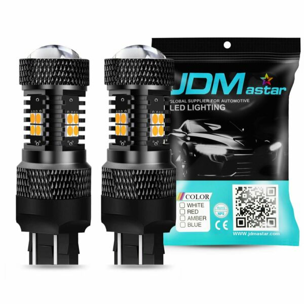 JDM ASTAR 2x 1500LM Amber Yellow 7440 7443 14-SMD LED Turn Signal Light Bulbs