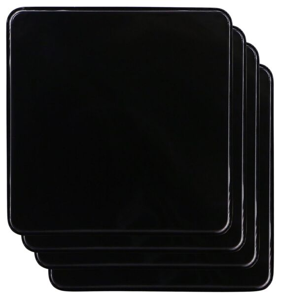 Gas Stove Burner Covers Extra Deep Black Square Easy Fits Most Rages Set Of 4