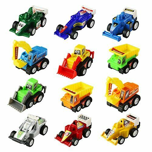 Mini Toy Cars Pull Back Vehicles 12 Pack Assorted Trucks and Raced Car Toy Play