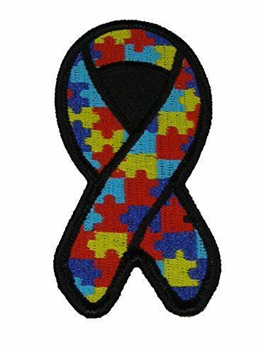 PUZZLE PIECE MULTI COLORED RIBBON FOR AUTISM AWARENESS PATCH