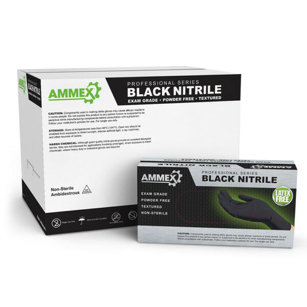 AMMEX Black Medical Nitrile Exam Latex Free Disposable Gloves (Box of 100)