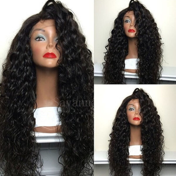 Hot Black Loose Curly Wigs Synthetic Lace Front Wigs Heavy Density Glueless Wigs