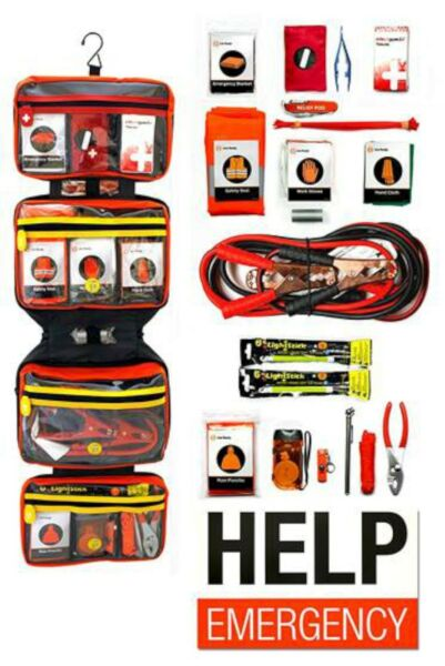 NEW Relief Pod Deluxe Car Roadside Safety Kit emergency aid tools set 60 ITEMS