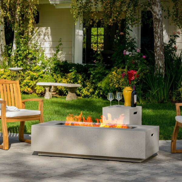 Jaxon Outdoor Fire Table with Lava Rocks amp; Tank Holder