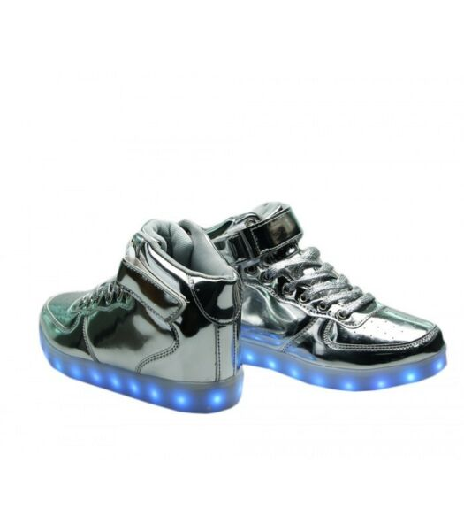 Men's Silver Patent Leather LED Light Up Shoes Luminous Sneakers
