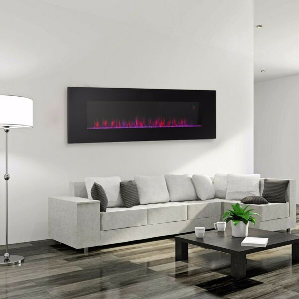 Black Electric Fireplace Wall Mount Heated Led Remote Control 3 Color Flame 60