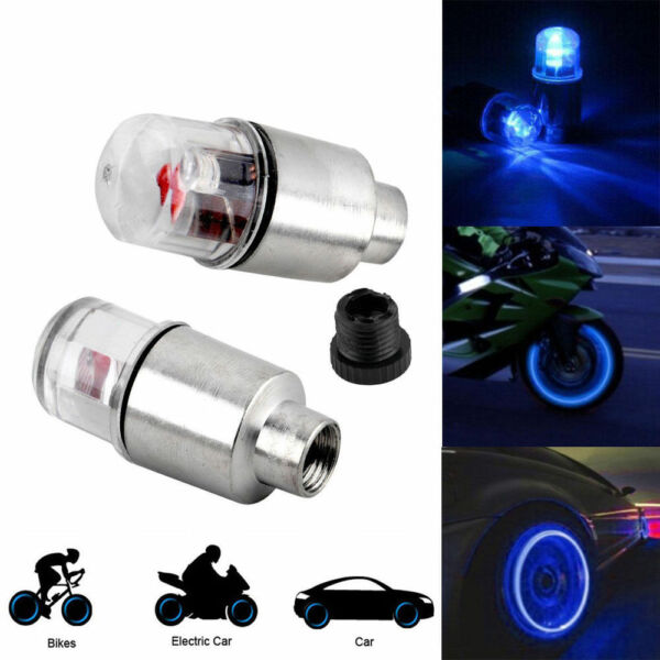 8X LED Wheel Tire Tyre Valve Caps Blue Neon Light for Car Motorcycle Bike LIGHT
