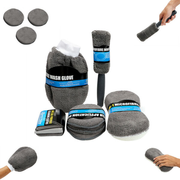 3*Microfiber Towels+3*Polish Applicator Pads+1*Wash Foam+1*Glove+1*Wheel Brush