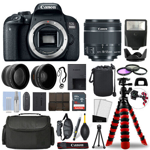 Canon 800D  T7i SLR Camera with 18-55mm STM+ 16GB 3 Lens Ultimate Accessory Kit