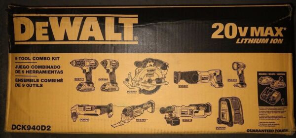 DeWalt DCK940D2 20V MAX Cordless Li-Ion 9-Tool Combo Kit w/ 2Ah Batteries - NEW
