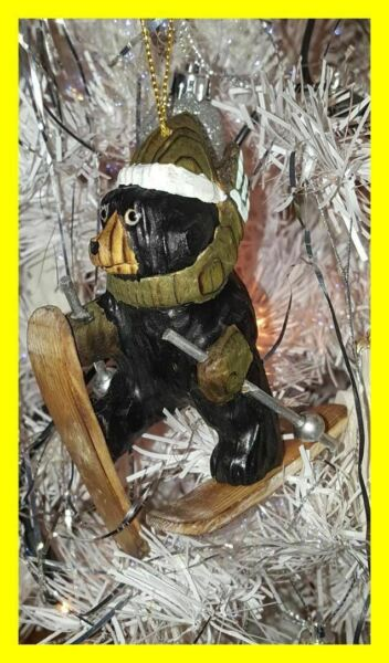 BLACK FOREST STYLE CHRISTMAS TREE LARGE BEAR ON SKIS DECORATION.