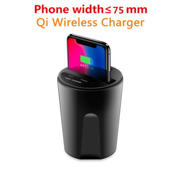 Qi Wireless Charger Car Cup Mount Holder W/ USB Charging Port For Samsung iPhone