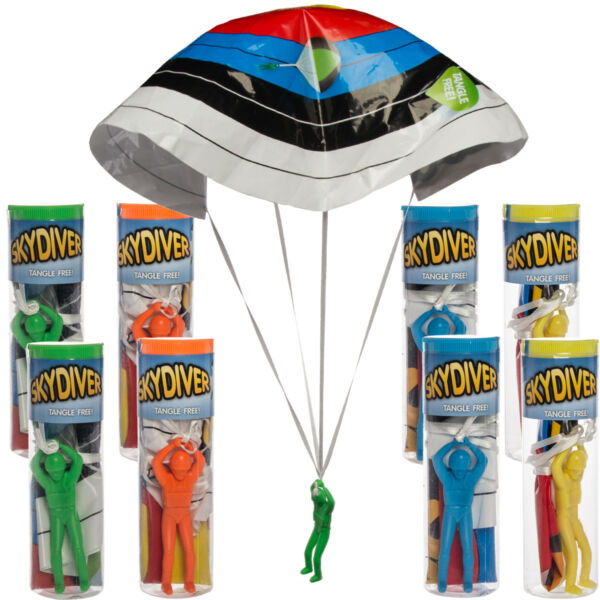 8pk Tangle Free Plastic Army Man Sky Diving Parachute Toys By Regent Kids Play