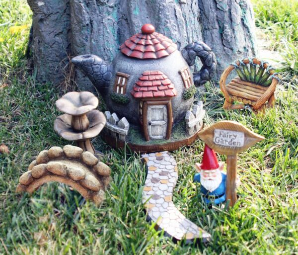 Fairy Garden Kit Accessories Set 6pcs, Hand Painted Gnome Statues, Indoor and