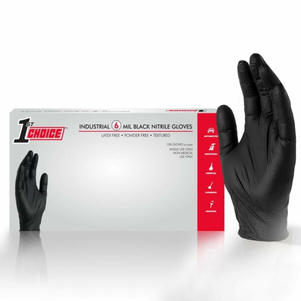 1000cs 1st Choice Black Nitrile Latex Free 6 Mil Mechanic Disposable Gloves