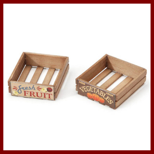 Fairy Garden Fun Dollhouse Wood Stained Grocery Farmers Market Crates Set Of 2