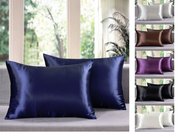 (Set of 2) - Solid Soft Charmeuse Satin Pillow Cases with Zipper Closure
