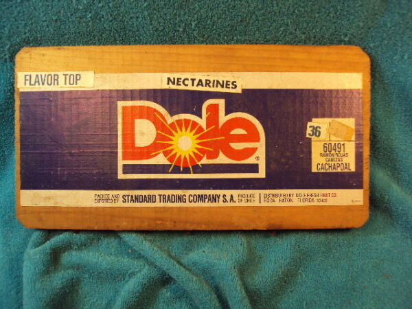 Vtg DOLE Wooden Fruit Produce Advertisement NECTARINE Crate Box End Part