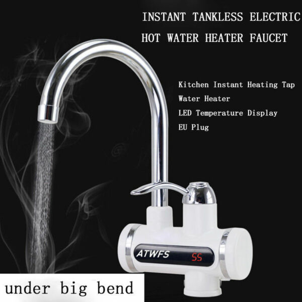 Electric Tank Less Water Heater Instant Hot Water Heater Cold Heating Faucet New $38.49
