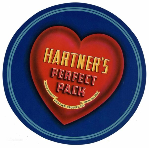 HARTNER'S PERFECT PACK Heart Denver CO *AN ORIGINAL PRODUCE CRATE LABEL* L24