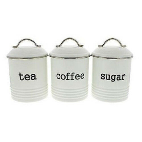 D.LINE Colonial Set of 3 Metal TeaCoffeeSugar Canisters Storage Tins 1L White!