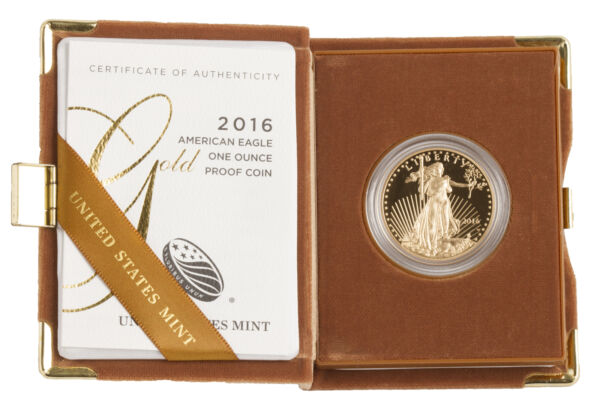 $50 1oz Proof Gold American Eagle Box & Certification (Random Date)