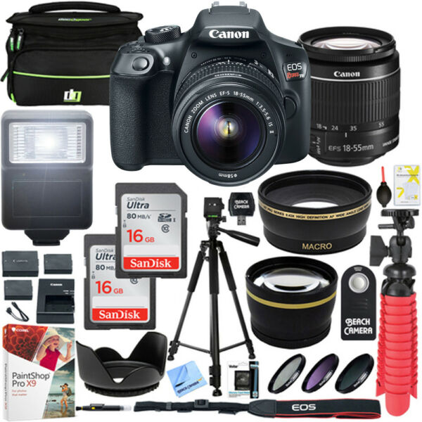 Canon T6 EOS Rebel DSLR Camera EF-S 18-55mm f/3.5-5.6 IS II Lens 16GB x2 Bundle