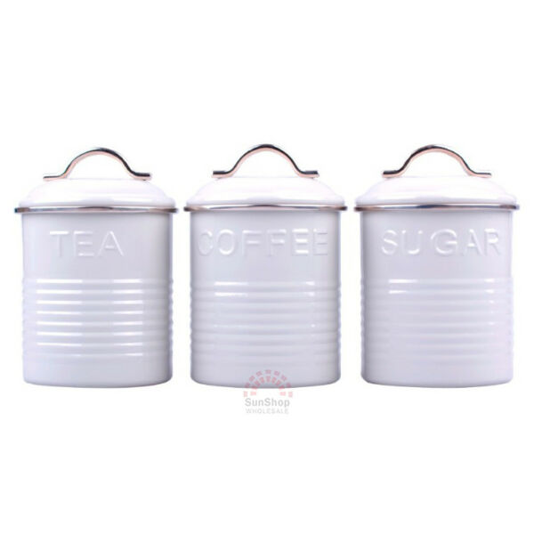 D.LINE Tradition Set of 3 Metal TeaCoffeeSugar Canisters Storage Tins 1L White