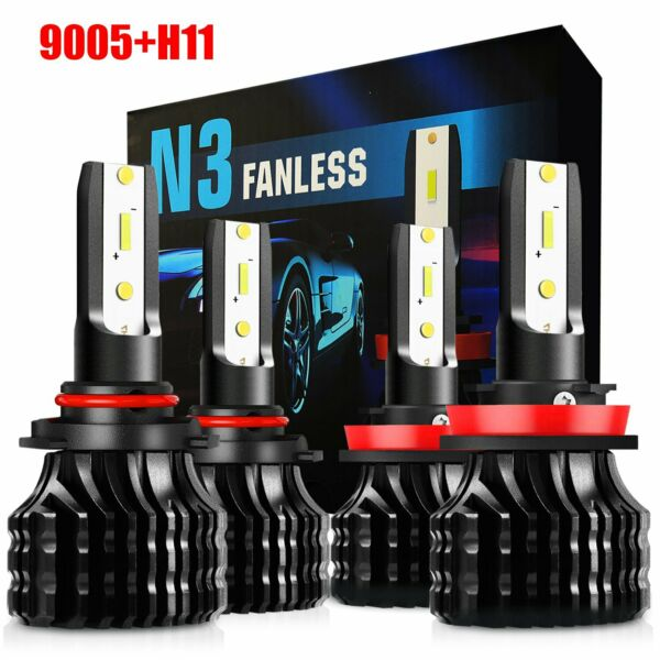 For 2009-2014 Dodge 9005+H11 Combo White LED Headlight High & Low Beam kit Bulbs