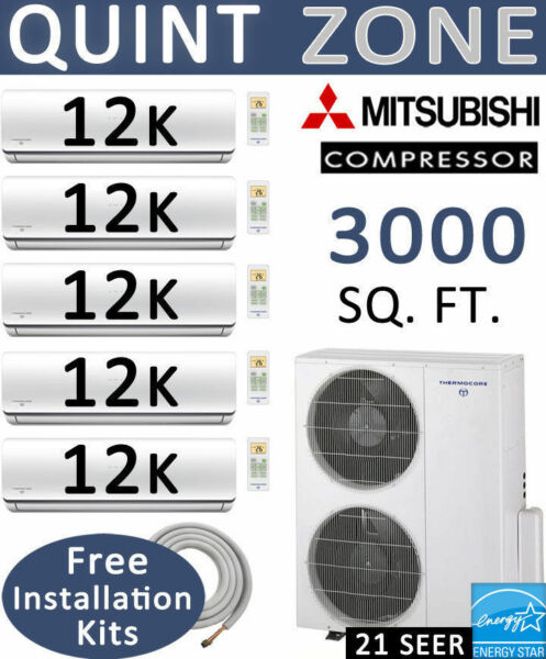 60000 BTU Quint Zone Ductless Mini Split Air Conditioner - Heat Pump: 12000 x 5
