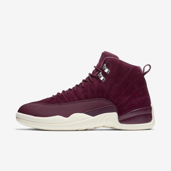 New Men's Air Jordan 12 XII Retro Bordeaux Sail Metallic SilverSize 8 130690 617