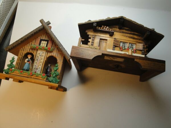 Vintage Black forest Chalet and Joggilli wetterhauschen Germany thermometer