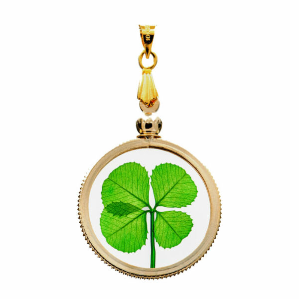 Gold Charm Pendant with a Real Genuine Four Leaf Clover Item GP-4J