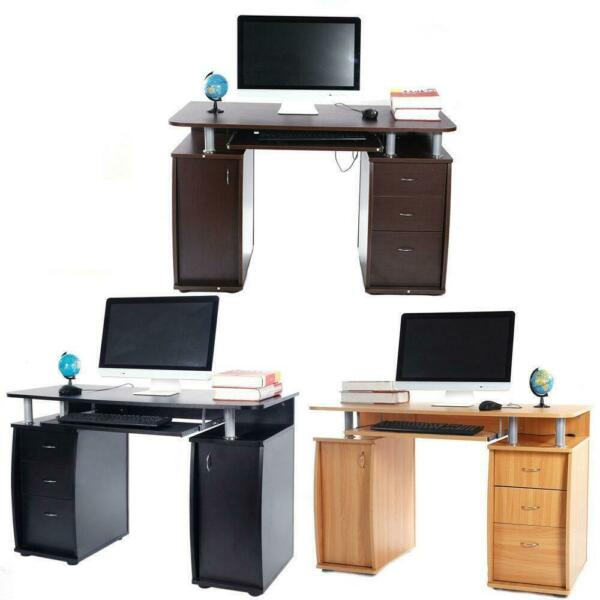 Computer Desk PC Laptop Writing Table Workstation with Stroage Drawers Shelf