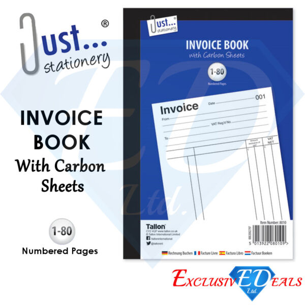 Invoice Duplicate Receipt Book Numbered 1 80 Pages With Carbon Sheets Size A5 GBP 2.35