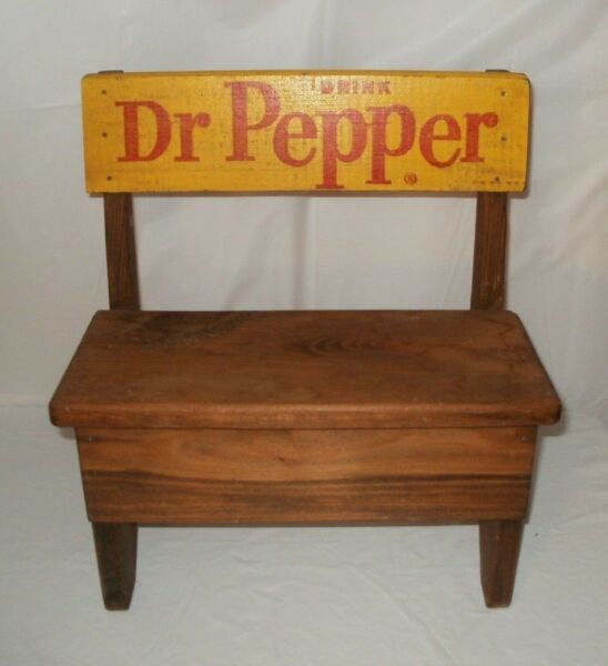 Vintage Wooden Yellow Dr Pepper Soda Pop Bottle Crate Handmade Bench FREE SHIPN'