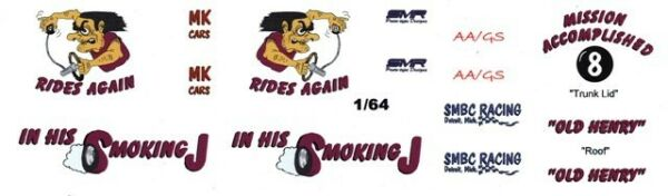 Old Henry Rides again in his Smoking J 164th HO Scale Slot Car Waterslide Decal