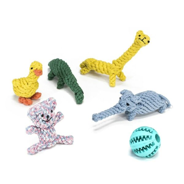 ALEKO Six Dog Rope Animals Chew Toys and Rubber Dental Ball