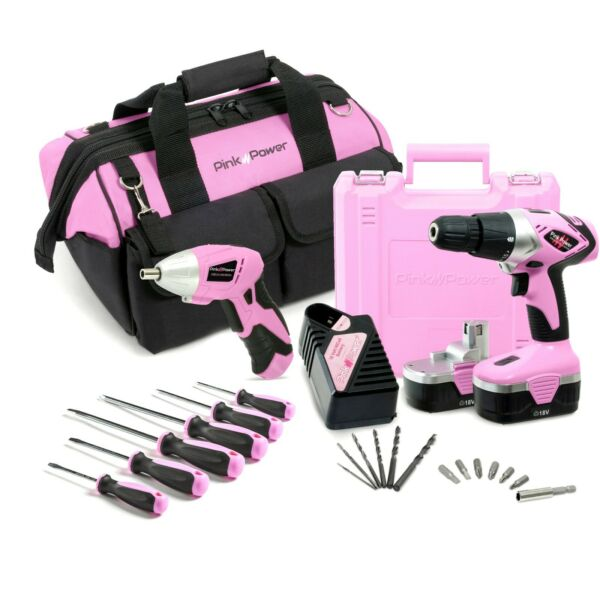 Pink Power 18V NiCad Cordless Drill Driver & Electric Screwdriver Combo Kit