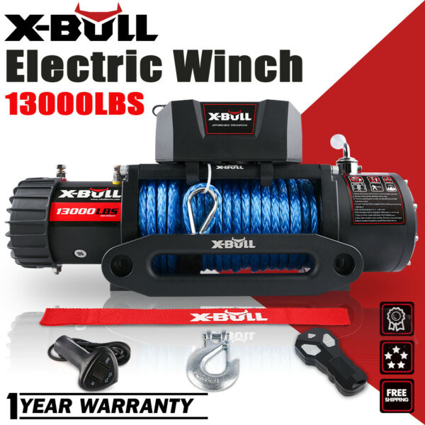 X-BULL 13000LBS 12V Electric Winch Synthetic Rope Truck Jeep OFFROAD Trailer 4WD