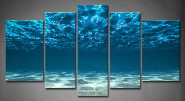 Framed Wall Art Blue Ocean Bottom View Painting Canvas Print Seascape Pictures